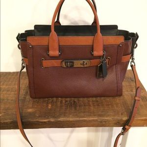 Coach Swagger large satchel. Brown/tan leather